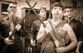 by: contributed photo, Fronted by Emily Millers, third from left, Gun Room Melodies will be wielding its best weapons, including country, punk and blues, at the Columbia Gorge Arts Festival.