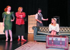 "by: Submitted photo, Scappoose High School actors (from left to right) Madie Darr, Rachel Mayes, CJ Jones and Emily Kimball rehearse for the May 21 premier of the school's presentation of ""Oh, Promise Me!"""