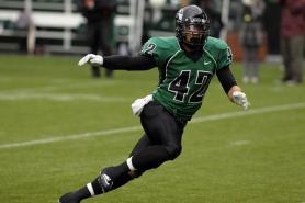 by: COURTESY OF PORTLAND STATE UNIVERSITY, Linebacker Joel Sisler, a senior, had an interception in the Portland State spring game as the Vikings showed off a strong back seven on defense.