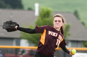 by: Chase Allgood, Marissa Reichard pitches a no-hitter against the Jesuit Crusaders Wednesday. The Forest Grove Vikings are heading to Medford to play in the 6A softball quarterfinals Friday afternoon.