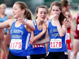 by: jonathan house, Three members of the St. Mary's 4x400-meter relay team -- (from left) Paige Rice, Chiara Chandlee and Julia Read -- bask in their first-place finish, which catapulted the Blues to the 6A title.