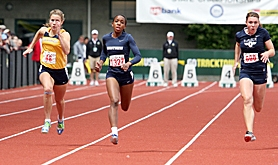 by: Miles Vance, AT STATE – Westview's Dominique Keel (center) sprints to victory in the 100-meter dash on Saturday.
