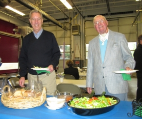 by: Barbara Sherman, FREE LUNCH — Dick Bernhard (right) won a drawing for lunch with TVF&R firefighters, and one of the friends he brought along to the King City station was Bob Nottingham.
