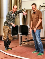 by: David F. Ashton, Gigantic Brewing Company Master Brewer Van Havig shows off some of the firm's new gear to Gabe Headrick of Steelhead Architecture – who is also President of the Reed Neighborhood Association.