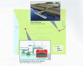 by: Courtesy illustration, This Ambre Energy illustration shows the proposed shipping route along the Columbia River for the Australian company's proposed coal export operation. The Morrow Pacific Project would ship Powder River Basin coal by barge from Boardman, Ore., to Clatskanie where it would then be sent to the Asian market.