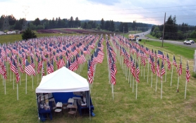 by: contributed photo, These flags are part of the traveling Field of Honor, which is placed in several Oregon communities each year to help people remember U.S. war veterans. This year in Sandy, a theft marred the observance.