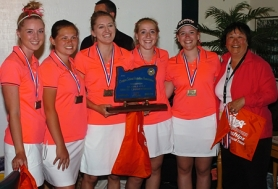 by: DAN BROOD, THE CHAMPS — The Tualatin High School girls golf team, including (from left) Emily Weiglin, Hayley Mortensen, Emily Peterson, Katie Nolan, Bridget Nolan and coach Nancy Lee, claimed the Class 6A state championship this spring.