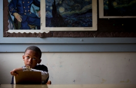 by: CHRISTOPHER ONSTOTT, Sabin School third-grader Nasir Overton practices his figure drawing during art class last week. Art, music and drama have become a luxury rather than a staple at most Portland schools.