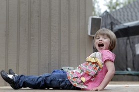 by: Jaime Valdez, Sophie Flicker, 4, takes a break from dancing at her home in Tualatin.
