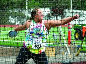by: Kristopher Anderson, Sandy track and field star McKenzie Warren competed in the shot put and the discus at the BorderDual Track Classic last Friday at Lewis and Clark College.