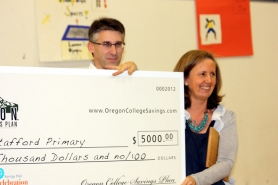 by: Lori Hall, Second-grade teacher Jody Amri was selected as the spring term recipient of the Education Celebration Award, presented by the Oregon College Savings Plan.