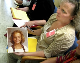 by: Mara Stine, Colleen Kelly, 45, holds a photo of herself at the age of 13 when Richard Troy Gillmore broke into her East Multnomah County home and sexually attacked her. She and Danielle Tudor, another of Gillmore's nine victims, testified against the serial rapist's request for parole on Wednesday, June 13.