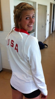 by: courtesy Dean Crouser, Gresham High junior Haley Crouser displays her Team USA warm-up after gaining a spot in next month's World Championships by winning the javelin at the U.S. Juniors on Friday.