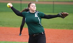 by: ESTACADA NEWS: DAVID BALL - Rangers pitcher Sylvia Hill fires a throw to the plate during a game against Corbett.