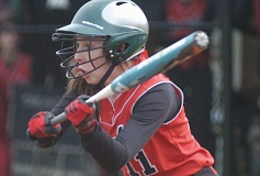 by: THE OUTLOOK: DAVID BALL - Corbett's Bethany Woodard squares to a pitch during Monday's 3-0 win at Estacada.