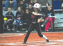 by: THE POST: PARKER LEE - Sandys No. 9 hitter Maddie Welch connects on an RBI-single during last weeks 5-1 win over Liberty.