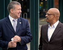 by: COURTESY OF PORTLAND COMMUNITY COLLEGE - Jeremy Brown, left, was hired April 18 as the new Portland Community College president. He replaces Preston Pulliams, right, who will retire this year after serving as PCC president since 2004.