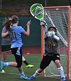 by: VERN UYETAKE - West Linn goalie Tara Sonnemaker makes one of her 10 saves in a win against Lakeridge. Sonnemaker also had 12 saves in a huge victory over Lake Oswego last week.