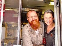by: MERRY MACKINNON - Travis Mason and Maureen Kennedy opened their new food cart Graffiti Sandwich in The Joinerys parking lot at 4804 S.E. Woodstock Boulevard. The couple, who live in Eastmoreland, serve traditional sandwiches with an unconventional twist.