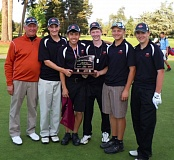 by: SUBMITTED PHOTO - The Scappoose High boys' golf team that finished third in state included: (from left) coach Steven Hagen, Alex Lukinbeal, Nick Nguyen, Justin Olbrich, Taylor Thomas, and Tyler Lukinbeal.