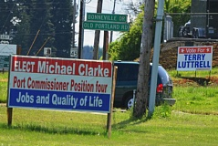 by: SPOTLIGHT FILE PHOTO - Campaign signs dot yards and roadsides in Columbia County in the weeks leading up to the May 21 election.