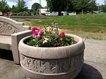 by: SUBMITTED PHOTO - Scappoose Public Works assisted in the flower planting by changing the dirt in the parks seven flower pots, said Scappoose Historical Society President Barbara Hayden.