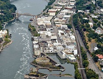 by: OREGON CITY - This overhead shot of the former Blue Heron Paper Co. property below Willamette Falls shows the area that citizens will weigh in on in the coming months.