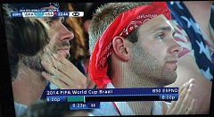 by: CONTRIBUTED PHOTO - Brothers Luke and Max Babson could be glimpsed cheering in the crowd during ESPNs coverage of the USA vs. Ghana round-robin match.
