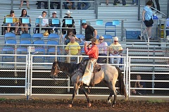 Photo Credit: COREY BUCHANAN - Announcer Wayne Brooks explaining the finer points of the Canby Rodeo to the crowd.