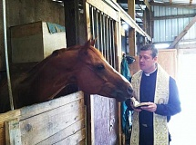 Photo Credit: COURTESY PHOTO - Father John Marshall, whos only been a priest for 14 months, recently made a stable call to bless Levi the painting horse in Forest Grove.