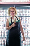 Photo Credit: TRIBUNE PHOTO: JONATHAN HOUSE - Four scoops on a sugar cone is the record at Salt & Straw, displayed here by owner Kim Malek at her Northwest 23rd Avenue location.
