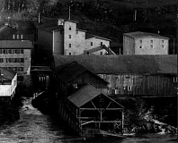 Photo Credit: PHOTO COURTESY: CLACKAMAS COUNTY HISTORICAL SOCIETY - 1892: 1883 grain elevator and 1880 wheat warehouse (with inclining flour conveyor); Imperial Mills.