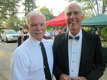 Photo Credit: SUBMITTED PHOTO - Lake Oswego Fire Chief Ed Wilson (left) and Mayor Kent Studebaker both cut a rug at Lakewood Bandstand - although not with each other!
