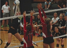 Photo Credit: ESTACADA NEWS: PARKER LEE - Estacadas Tori Johnson goes up for a kill out of the middle during a match last season.