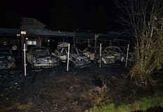 Photo Credit: WASHINGTON COUNTY SHERIFF'S OFFICE - An 11-year-old Beaverton boy was arrested following a July 27 carport fire at Canyon Park Apartments on 107th Avenue that destroyed several cars, causing an estimated $200,000 in damages. They boy is suspected in at least two other area fires this summer.