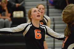 Photo Credit: JOHN WILLIAM HOWARD - Sophomore Alyssa Spang calls for the ball during the third and final set on Tuesday against Estacada. The Indians are young, and will start a tough league schedule on Sept. 16.