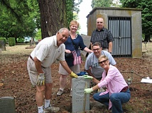 Photo Credit: SUBMITTED PHOTO - Celebrating the installation of the markers are Morry and Carolyn Arntson of Waverley Country Club (front); Karen and Randy Fletcher, representing the Sons of Veterans of the Civil War (center); City Councilor Dave Hedges (back).