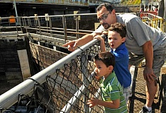 Photo Credit: STAFF PHOTOS: VERN UYETAKE - Carlos Miranda explains to his sons, Samuel, 4, and Benjamin, 6, how the locks work.