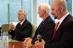 Photo Credit: TRIBUNE PHOTO: JAIME VALDEZ - Gubernatorial candidates Gov. John Kitzhaber, left, state Rep. Dennis Richardson, center, and Pacific Green Party's Jason Levin, right, discussed a handful of issues Monday morning during their first joint appearance before the editorial boards of the Pamplin Media Group and the East Oregonian (EO) Media Group.