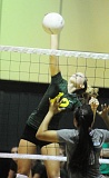 Photo Credit: MATTHEW SHERMAN - Elle Dyrdahl elevates for a spike during West Linn's win over Lakeridge last week. The Lions rolled in the first two sets but had to hang on for a five-set win to stay unbeaten in the TRL.