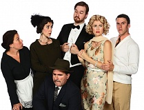 Photo Credit: PAUL RICH - The cast of 'Whodunit ... The Musical' at the Broadway Rose Theatre Company includes (front) Mike Dedarian as Detective Jarvis and (back, from left) Jennifer Goldsmith, Debbie Hunter, Thomas Slater, Joy Martin and Sean Powell. See Oct. 1 listing for show details.