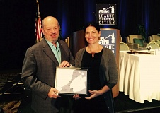 Photo Credit: SUBMITTED PHOTO - Mayor Denny Doyle and Jennifer Rivas, B-SOBR program coordinator, receive the Award for Excellence from the League of Oregon Cities.