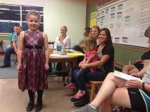 Photo Credit: CONTRIBUTED PHOTO - Alexa spoke at Oregon Trail Academys parent teacher meeting to pitch her idea for a food drive.