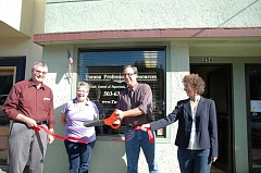 Photo Credit: ESTACADA NEWS PHOTO: ISABEL GAUTSCHI - City and business leaders celebrated new downtown business Tucana Professional Resources with a ribbon cutting ceremony Thursday, Oct. 9. Pictured from left: City Manager Bill Elliott, Chamber President Tamara Pugh, Mayor Brent Dodrill and Tracia Larimer, owner of Tucana Professional Resources.