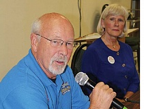 Photo Credit: HOLLY M. GILL - Madras City Councilor Tom Brown, left, and Mae Huston are both seeking position 1 on the Jefferson County Commission. The two discussed the issues on Monday night at Candidate Forum, sponsored by the Madras-Jefferson County Chamber of Commerce.