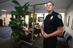 Photo Credit: TIMES PHOTO: JAIME VALDEZ - Beaverton Police Chief Geoff Spalding stands by what passes for a police interview room in the lobby of former city hall at 4755 S.W. Griffith Drive. If voters OK a $35 million bond measure on Nov. 4, the building could be renovated to solve space and safety problems.