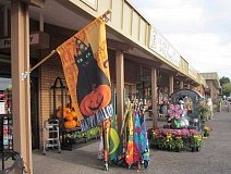Photo Credit: BARBARA SHERMAN - A colorful display of fall and Halloween items outside McCann's Pharmacy and Medical Supply beautifies the area, but many hope the Plaza itself will be spruced up as part of future improvements.