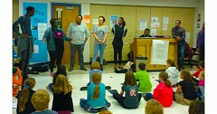 Photo Credit: PHOTO COURTESY: LESLIE ROBINETTE - Cast members from the musical 'Dream Girls' met with the John Wetten Elementary Choir to inspire Gladstone students considering a performing arts career.