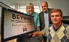 Photo Credit: STAFF PHOTO: VERN UYETAKE - Bridget Barton, Jim Pasero and Rob Kremer, seated, of Third Century Solutions, have released Beyond the Oregon Myth, Kevin and Georgie Investigate, a documentary that shows Oregons economic woes are self-inflicted.
