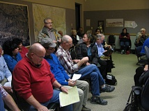 Photo Credit: PHOTO BY: RAYMOND RENDLEMAN - People crowd the Oak Lodge Sanitary Distict boardroom last week wanting to comment on a merger proposal with the Oak Lodge Water District.